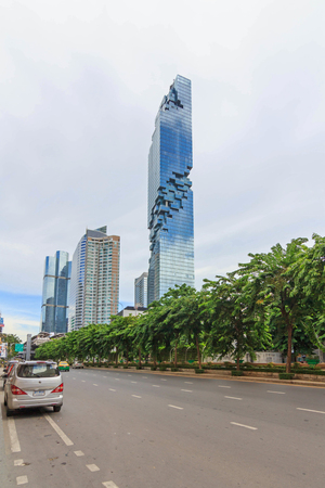 at the highest: Bangkok,Thailand - August 27 , 2016 : Modern style building of  Mahanakorn tower. New highest tower landmark in Thailand Editorial