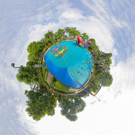 Circle panorama of playground in the park Stock Photo