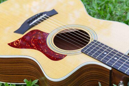 Selective focus at acoustic guitar