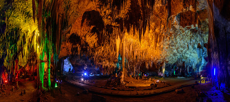 stalagmites: Panorama Stalactite stalactites with color lighting in cave