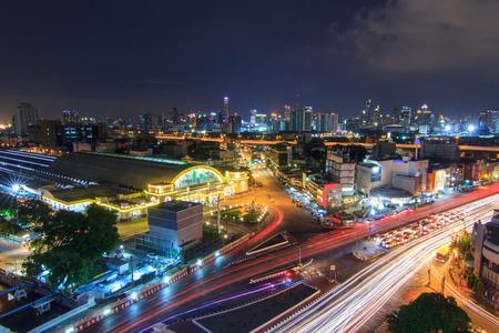 hua: Top view of Blur light traffic at Hua Lamphong Station public landmark of train station