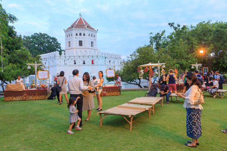 thai musical instrument: Bangkok , Thailand - 2 November, 2017: Traveler in Loy Kratong Festival