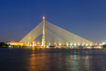 Big Suspension bridge with lighting in night time  Rama 8 bridge in night time