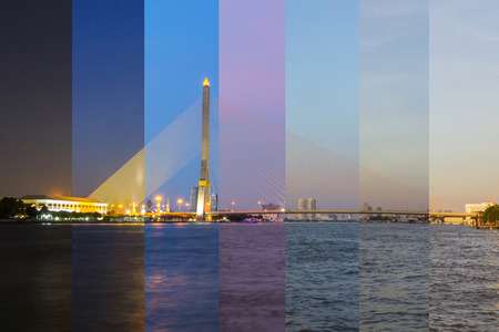Different shade color in same frame of Big Suspension bridge in Sunset time  Rama 8 bridge in sunset time
