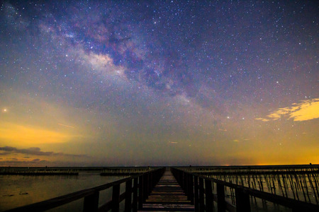 Milky way on the sky at sea view point Stock Photo