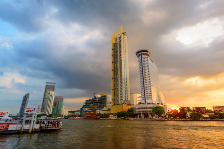 Bangkok , Thailand - 23 Nov, 2018: ICONSIAM Shopping center with cloud on the sky in sunset time