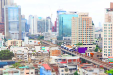 High view of BTS sky train with tilt shift style