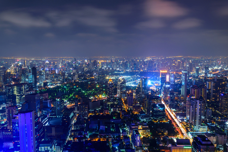 High view of Bangkok city in night time