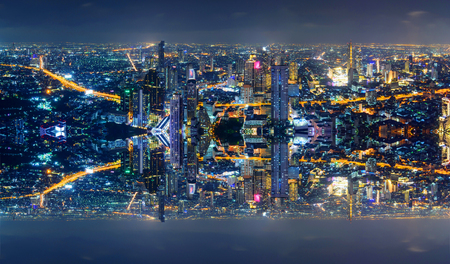 High view of the city with invert side process style
