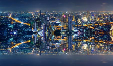 Hoher Blick auf die Stadt mit umgekehrtem seitlichem Prozessstil