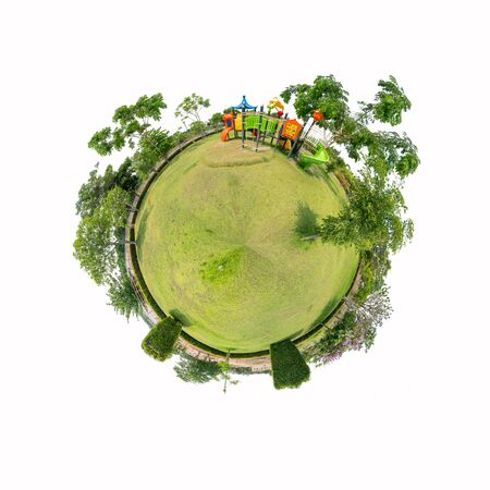 360 Panorama of playground  on white background with Clipping path inside  circle panorama of playground on white background Stockfoto