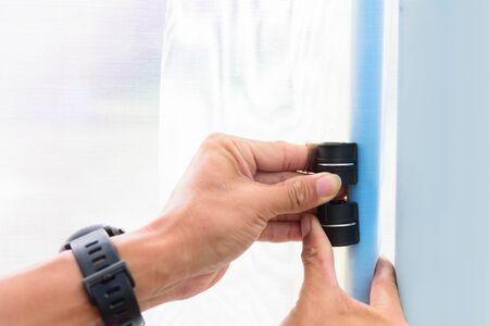 clip lock plastic roof greenhouse Stock Photo