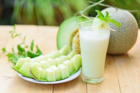 Milk melon Smoothie in glass