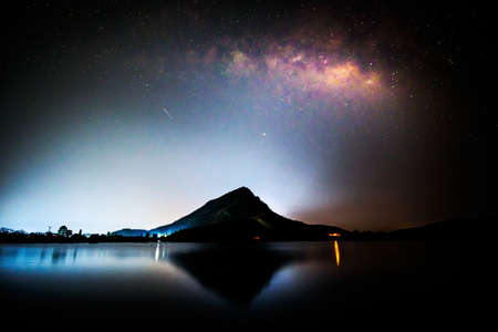 Milky way at the lake view in night time