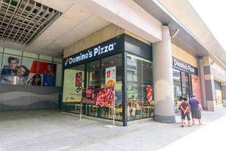 Bangkok, Thailand - 2 September, 2020 : domino's pizza shop brance front side of Seacon Bangkae shopping mall