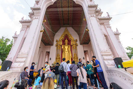 Nakhonpathom, Thailand - 31 October, 2020: A lot people in Praying Homang to Phrapathom Chedi event