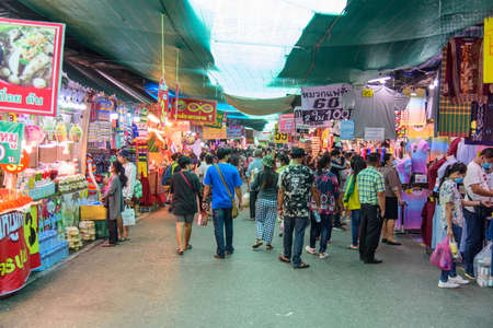 Nakhonpathom, Thailand - 31 October, 2020: A lot of people shoping around area  in Praying Homang to Phrapathom Chedi event