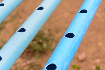Perforated pvc pipe by HOLE SAW for use in D.I.Y hydroponics sytem of  vegetable garden