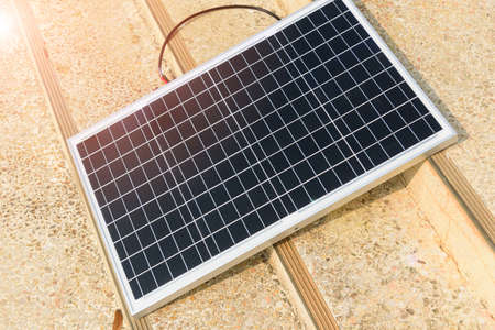 solar cell panel on the ground  with sunlight Stock Photo