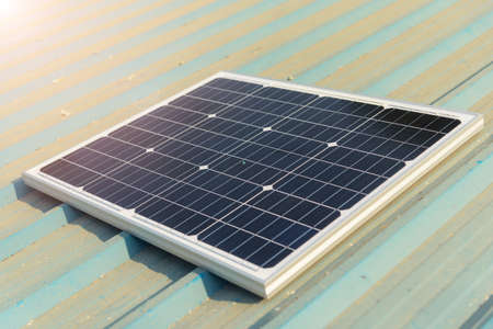 solar cell panel on the roof of house