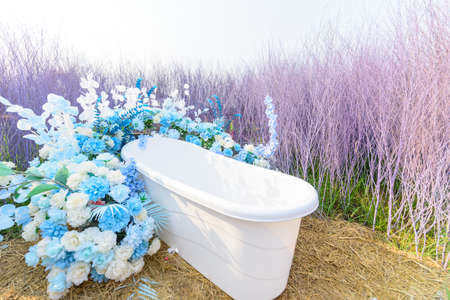 Empty white bathtub in the purple wood park