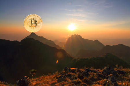 Bitcoin on high mountain like mean buy on top hill