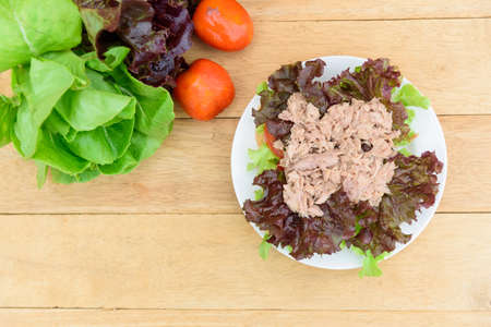Closeup to Sandwich tuna in white dish