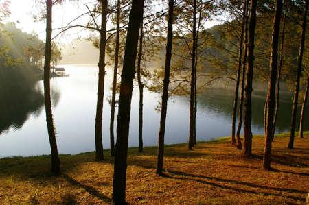 morning light at pang-ung  national park, Maehongson Province, North of Thailand Stock Photo - 16280294