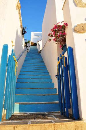 blue stairs at katapola, amorgos island, Greece