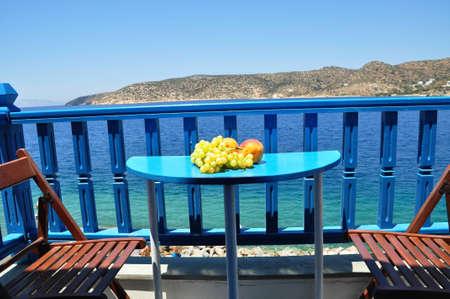 Take a rest at balcony in katapala beach, amogos island, Greece Stock Photo