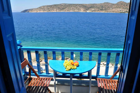 Take a rest at balcony in katapala beach, amogos island, Greece Stock Photo