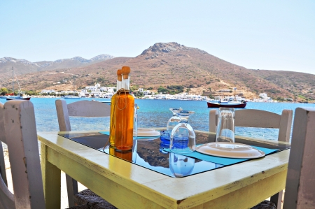 Beach front taverna in amorgos island