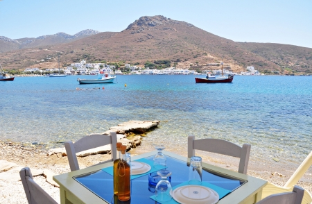 Beach front taverna in amorgos island photo