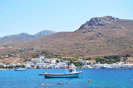 Katapola village next to the sea with the mountainous and rocky