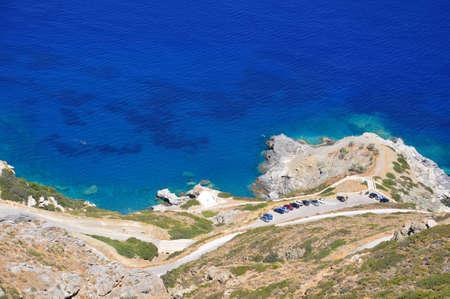 Agia Anna - The famous beach of Amorgos, located right below the Byzantyne Monastery of Chozoviotissa Stock Photo