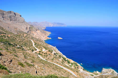 Agia Anna - The famous beach of Amorgos, located right below the Byzantyne Monastery of Chozoviotissa Stock Photo