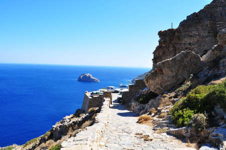 Amorgos  the deep blue sea, in the Cyclades Islands of Greece