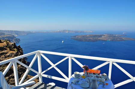 Dream breakfast in santorini island photo