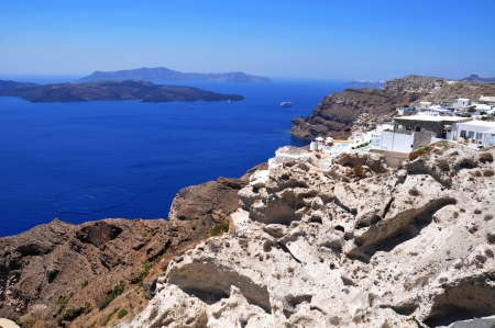 cliff front villas at Prygos, santorini island Stock Photo