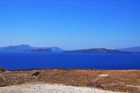 location of Pyrgos, Santorini island Stock Photo