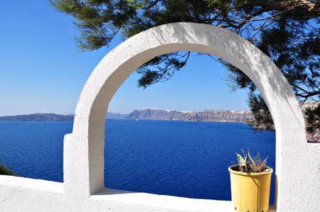 Traditional window of blue sea in santorini island