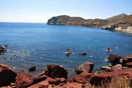 The red beach, One of the most famous and beautiful of the beaches of Santorini