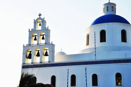 cultic: Greek church bell tower in Oia village, Santorini, Greece