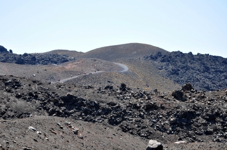 Aftermath of the volcano eruption in santorini island