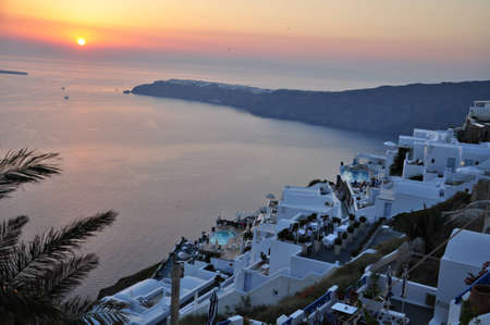 Santorini island, Greece, 11th August 2012 - Sunset at Imerovigli village on Santorini island, Greece