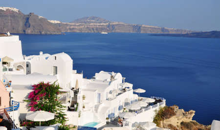 Oia village, Santorini island, Greece, 12th August 2012 - Amazing deep blue of Santorini with sea view in Greece