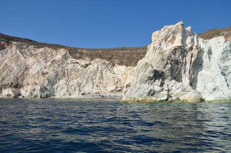 View of white rock on the trip to white beach  Akrotiri  Santorini