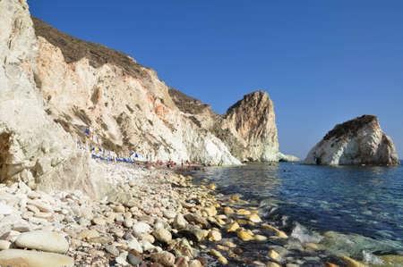 the white rock of white beach Stock Photo