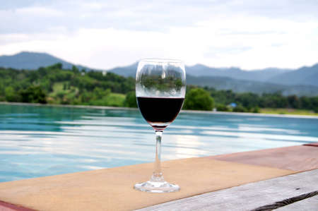 nice accommodations: Glass of wine by the pool with bueatiful mountain view