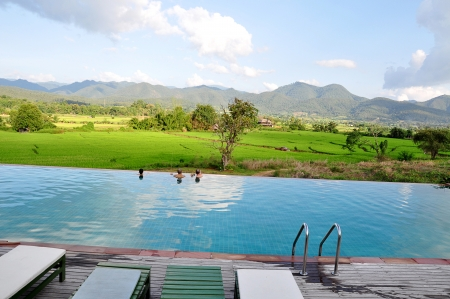 Pai, mea hong son, Thailand, Foto taken at 30th October 2012 - Tranquil swimming with rice field and mountain view